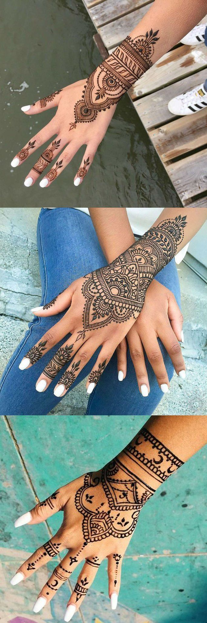 Black Hand Henna Mandala Tattoo Design Ideas with Meaning for Women – mano Idea…