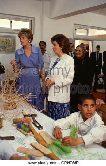 Princess Diana of Wales, on a visit to Egypt in 1992, visits a charity with Suzanne Mubarak.