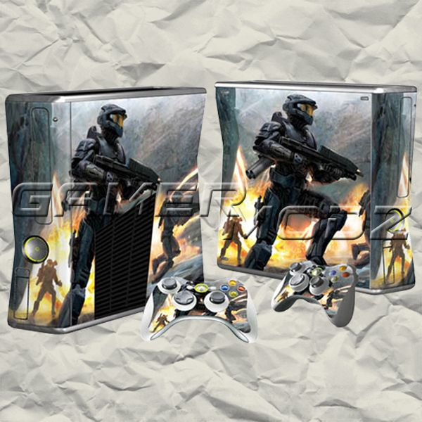 Halo XBOX 360 Skin Set - Console with 2 Controllers