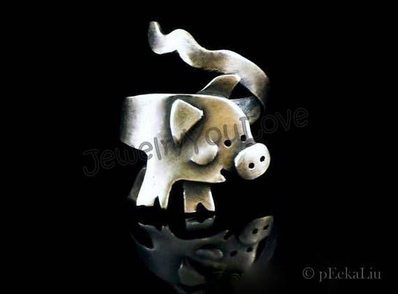 Pig Brooch Sterling Silver Farm Animal Pig Brooch LuLu
