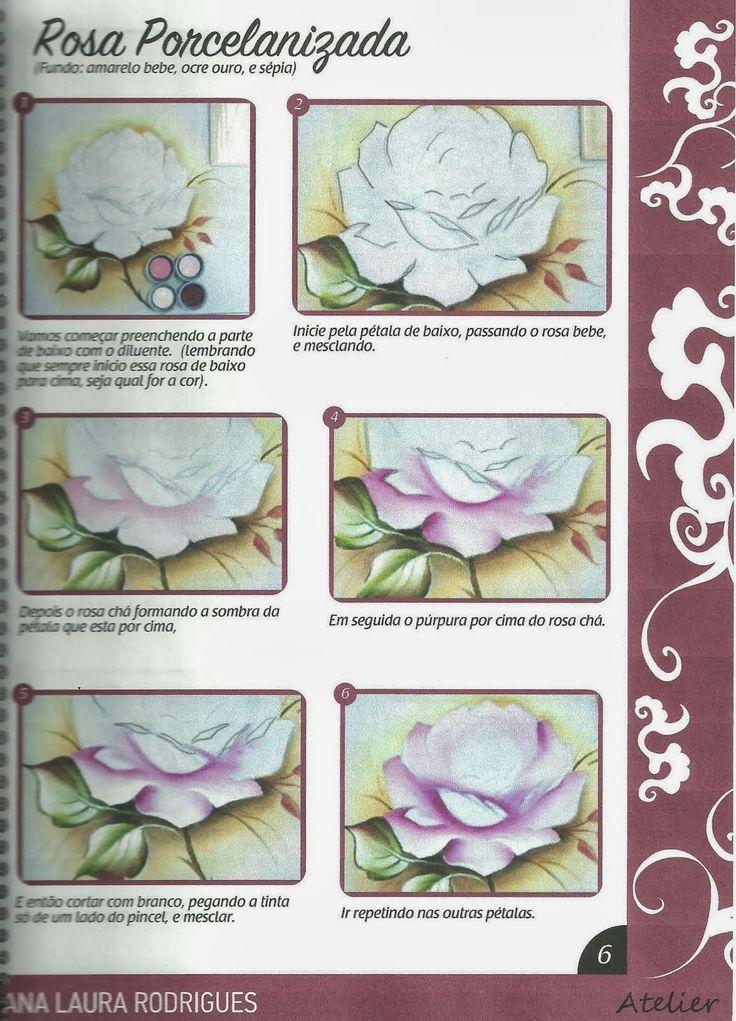 Talita Monteiro: Como Pintar Rosa Porcelanizada/Wilma Cherpinsky board on painting roses, beautiful projects!