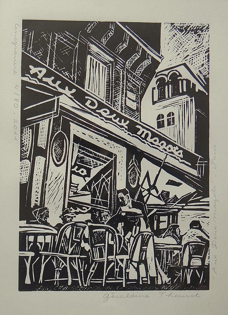 """Linogravure """"Aux Deux Magots - Paris"""" Géraldine Theurot"""