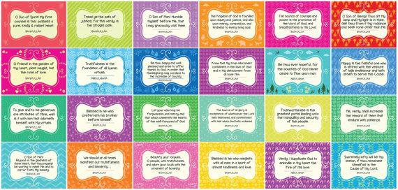 PRINTABLE BAHA'I CHILDREN'S Class Set of 24 Cards for Children - Memory Cards / Ruhi 3 Class Quotes / Class Grade 1 Unit 1 (Ruhi 3)