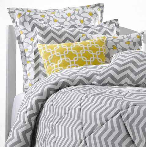 Pair our gray chevron dorm bedding with our poppy euro sham and yellow metro accent pillow!
