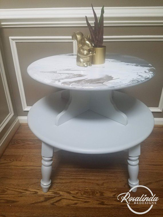 Vintage Gray Pour Painted Solid Wood Pair Of Side Tables End Table