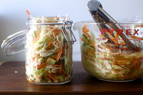 pickled cabbage salad (add jalapenos and keep it in the fridge to put on fish tacos)