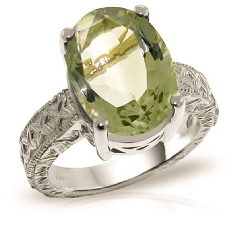 buymadesimple.com: QP 9ct White Gold 7.50ct Green Amethyst Ring
