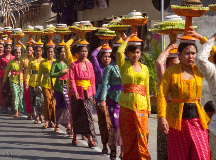 Bali food offering procession
