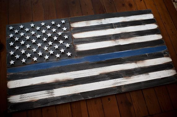 Thin Blue Line Wood Flag Thin Blue Line Flag US by PatriotWood