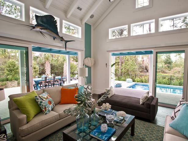 Love this room? Bring the look home.    We've made our favorite photos shoppable...just browse and click to buy --> http://hg.tv/swl4: Smart Home, Dreams Home, Living Rooms, Hgtv Smart, Coastal Style, Coastal Decor, Window Treatments, Beaches Houses, Families Rooms