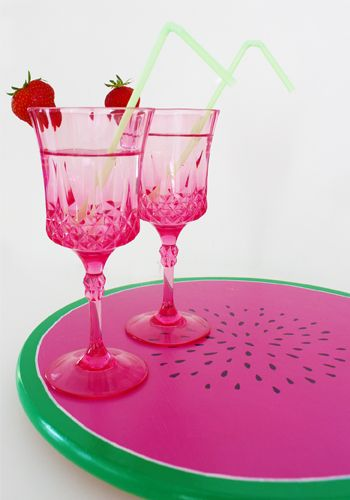 Dienblad gemaakt van draaiplateau IKEA!  #watermeloen #knutselen #zomer