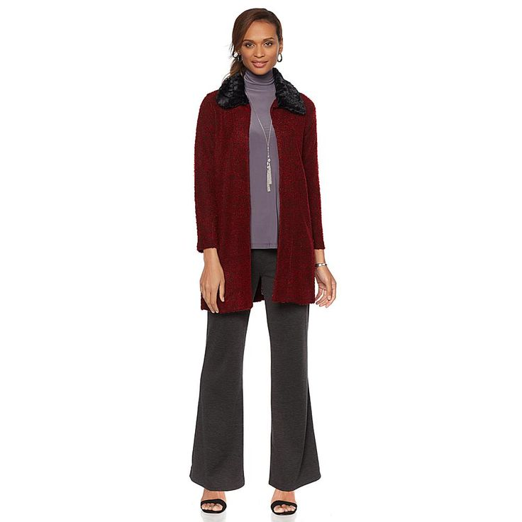 Slinky® Brand Boucle Duster with Faux Fur Collar - Red