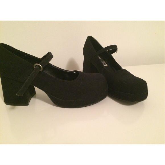 Vintage Xhilaration black Mary Jane heels Vintage Xhilaration black Mary Jane heels. Feel like suede.  Size 7.5 Xhilaration Shoes Heels