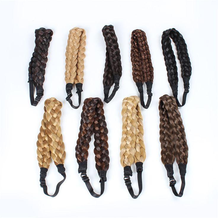 Синтетические волосы плетеные косички повязка на голову Hairband блондинка плетеный группа аксессуары 8 цветов 36 * 3 см WA140G