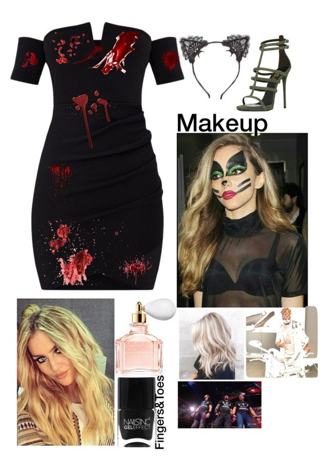"""""""Leah-Halloween as a Zombie-Cat"""" by jerrielesy-wwe-lm ❤ liked on Polyvore featuring True Craft, WWE, Guerlain and Nails Inc."""