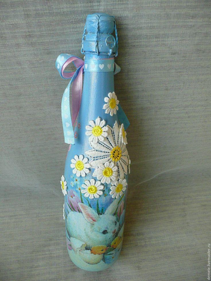 """Купить Декор бутылки """"Ромашковое чудо"""" подарок для девушки, женщины. - голубой, декор любого напитка"""