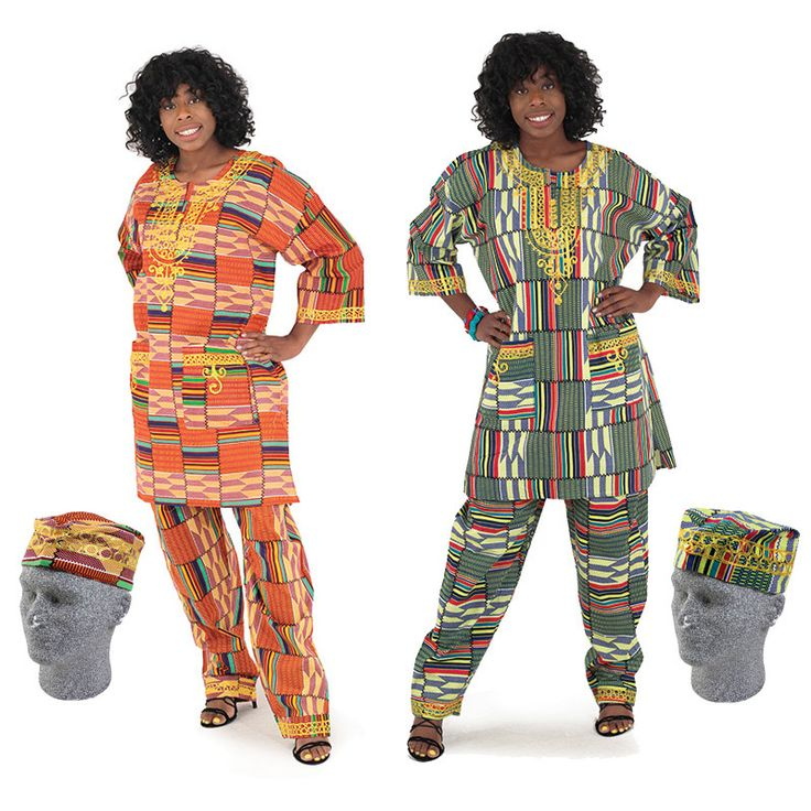 Deluxe Kente Pant Set (Orange Print) - Beez Afrocentric Clothing & Accessories, Inc.