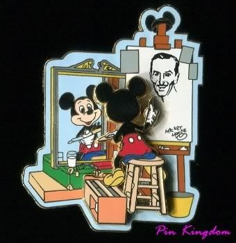 "Disney trading pin: Norman Rockwell-style ""Self Portrait"" one of my favorite pins. Oh my gosh I want this!!"