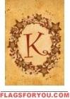 K - Vine / Berries Monogram Garden Flag