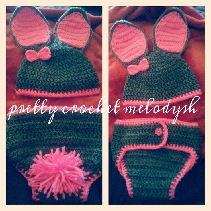 Crochet set bunny for baby girl