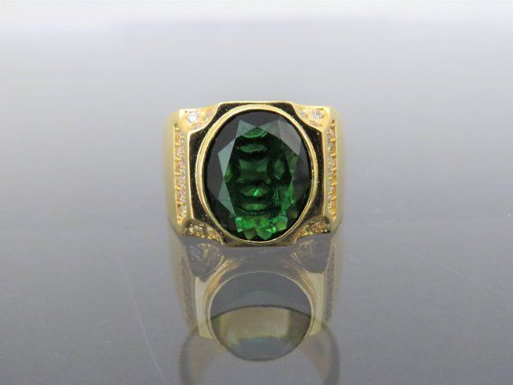 Vintage 18K Solid Yellow Gold Peridot /& White Topaz Ring Size 5.5