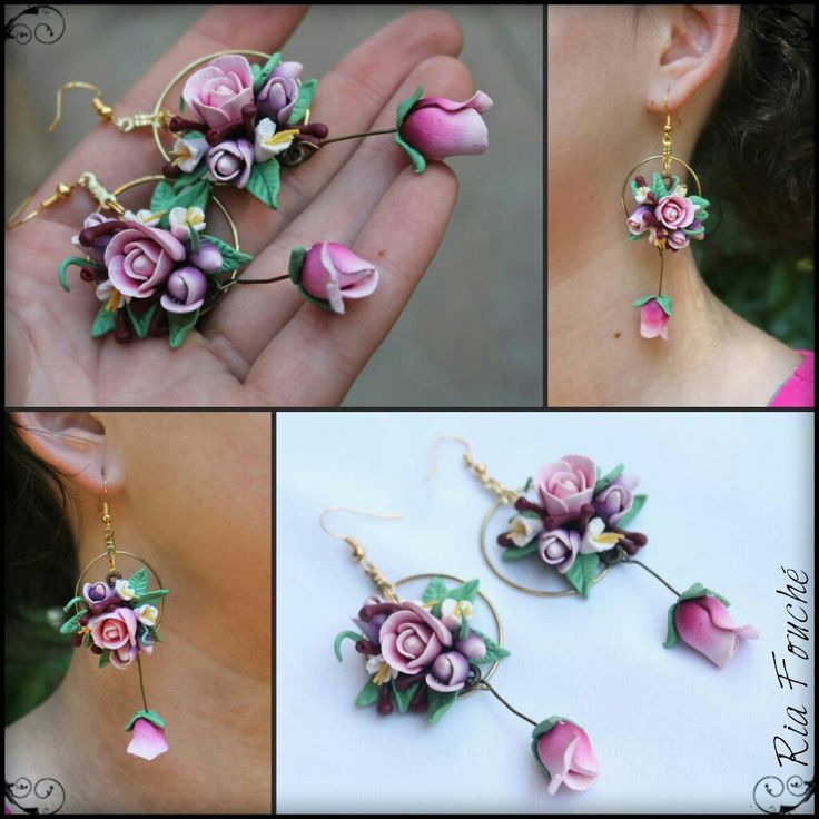 Multi rose bouqet earrings in pinks, purples, green and white