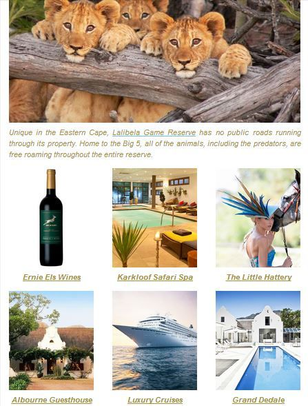 Win a weekend for two at Lalibela Private Game Reserve!  To enter, follow us on Facebook and subscribe to our newsletter:  http://www.milesforstyle.com/c213/newsletter.aspx Winner announced end-October!