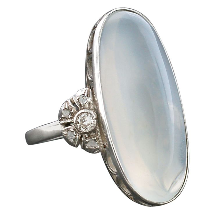 Art Deco Diamond & Moonstone Platinum Ring | From a unique collection of vintage fashion rings at http://www.1stdibs.com/jewelry/rings/fashion-rings/