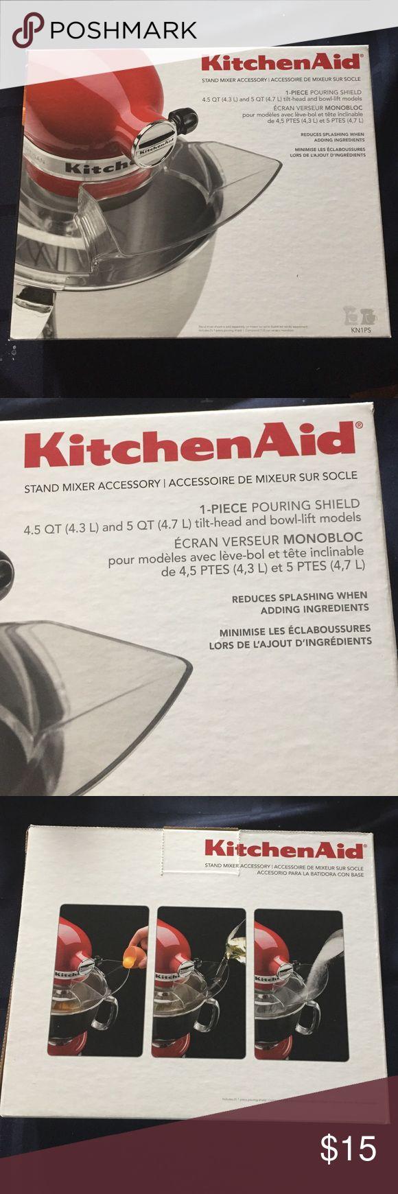 NIB kitchenAid 1 piece pouring shield New in box kitchenAid stand mixer accessory, 1 piece pouring shield. Retails $19.99 kitchenaid  Other