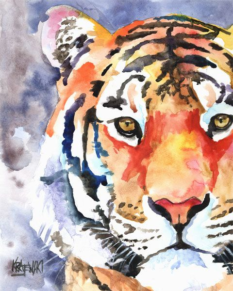 I love this artist!  Tiger Art Print of Original Watercolor Painting 8x10. $12.50, via Etsy.