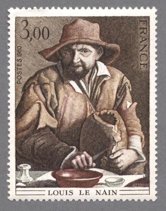 timbres de france/timbre france 1980 - 2108 - Paysan attable coupant le pain - Detail de La famille de paysans, tableau de Louis Le Nain - Serie Oeuvres d Art.JPG