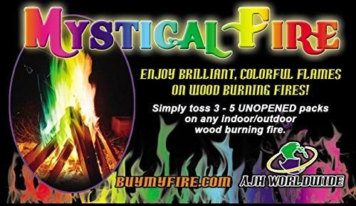 Mystical Fire Flame Colorant Vibrant Long-Lasting Pulsating Rainbow Flame Color Changer for Indoor or Outdoor Use 0.882 oz Packets 12 Pack