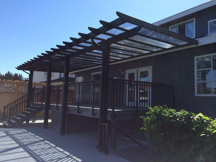 Black Pergola Glass Roof
