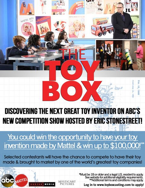 Now casting toy inventors for ABC's the TOY BOX! Email teresa@mysticartpictures.net