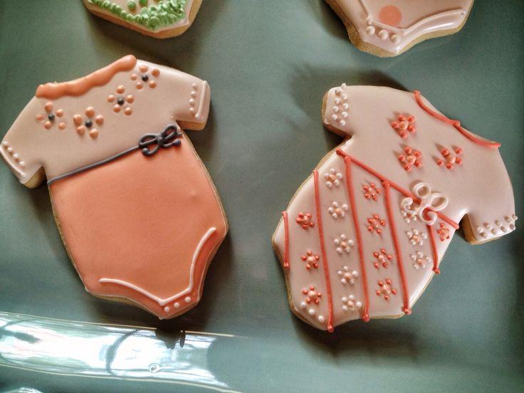 Another Set Of Peachy Onesie Cookies CookiesBaby Shower CookiesSugar CookiesGluten Free CookiesCookie CakesFood IdeasSugaringGluten