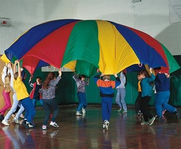 """24' Parachute - 5-Star Review - """"Kids Camp Coordinator"""" from Bel Air, MD says """"We have used this for games and also hung it from the ceiling of our room to create the illusion of a big top circus tent. It was great for both! The construction is sturdy, and it has it's own storage bag."""""""