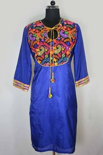 Buy this designer Blue Semi Silk Embroidery Kurti online from www.Harmeendesign.com