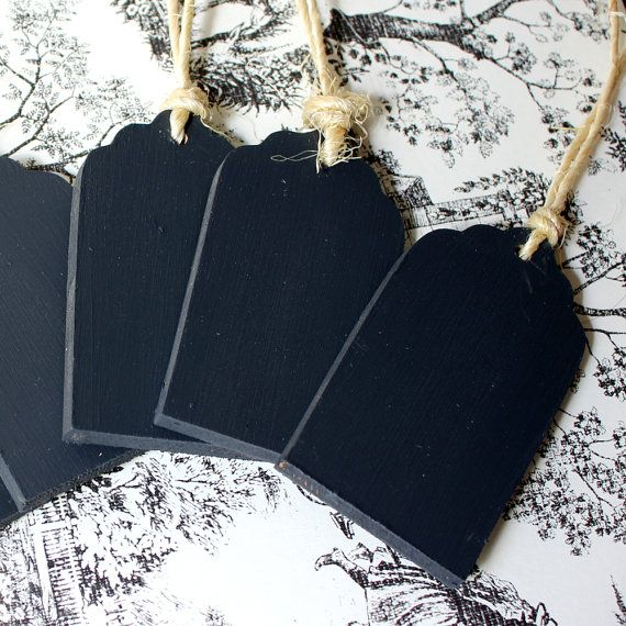 6 Chalkboard Tags for weddings, baskets, labeling and more with Jute twine via Etsy