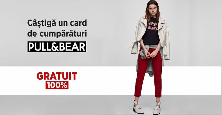 Câștigă acum un card de cumpărături PULL and BEAR, în valoarea de 200 RON! Cardul este valabil în orice magazin PULL and BEAR din România. Nu este valabil în varianta online. SUCCES!