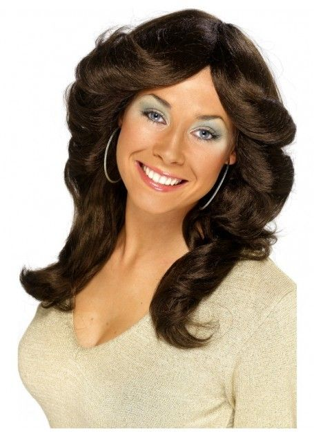70's Brown Flick Costume Wig - Charlies Angels 70's Flick Wig, Brown, Long, Wavy and Layered. Perfect for your 1970's costume theme. You will love how you look and feel wearing this quality costume wig. www.thewigoutlet.com.au