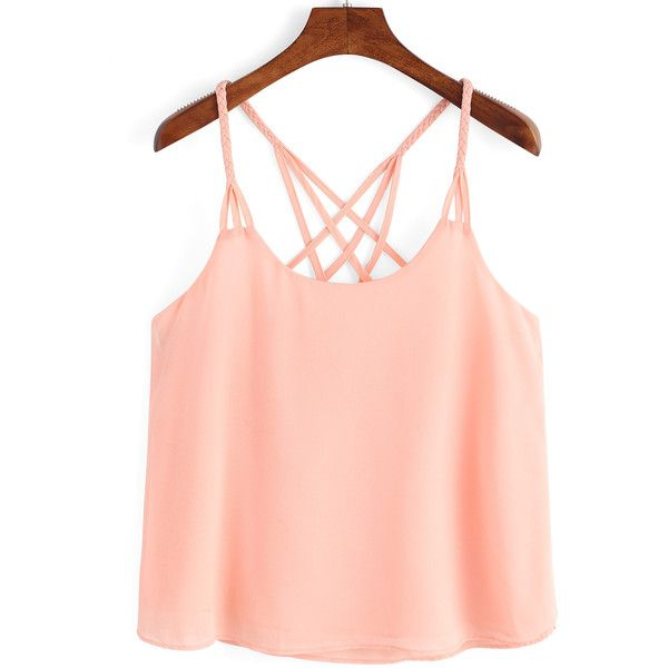 SheIn(sheinside) Pink Spaghetti Strap Loose Cami Top ($12) ❤ liked on Polyvore featuring tops, shirts, pink, loose fitting tank tops, loose fit tank, cami shirt, red camisole and cami tank