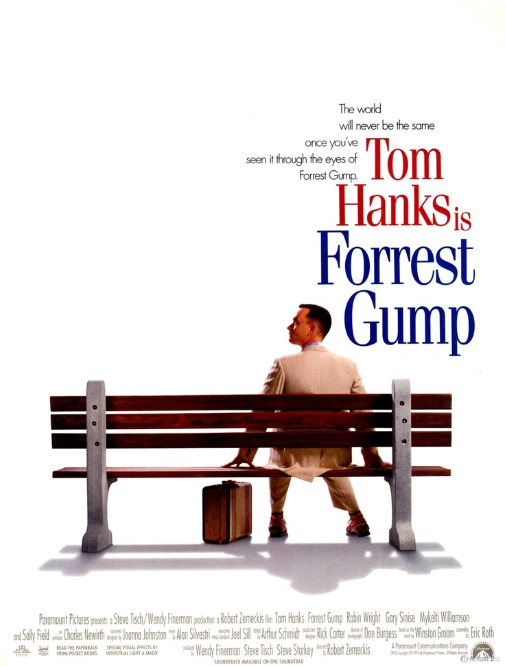 Forrest Gump (1994),  142 min  -  Drama | Romance. Forrest Gump, while not intelligent, has accidentally been present at many historic moments, but his true love, Jenny, eludes him. Director: Robert Zemeckis. Writers: Winston Groom (novel), Eric Roth. Stars: Tom Hanks, Robin Wright and Gary Sinise.