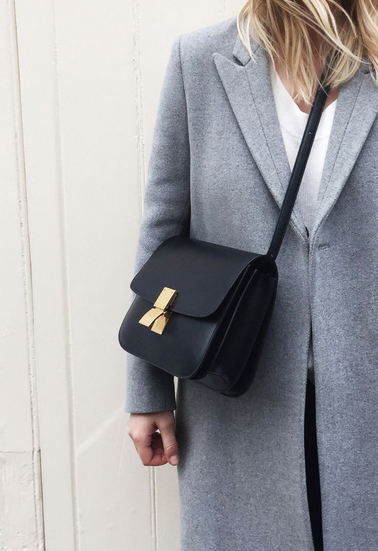 Filippa K coat & Céline box bag. Via Mija