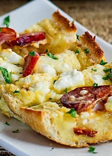 Sausage and feta covered brunch boats.