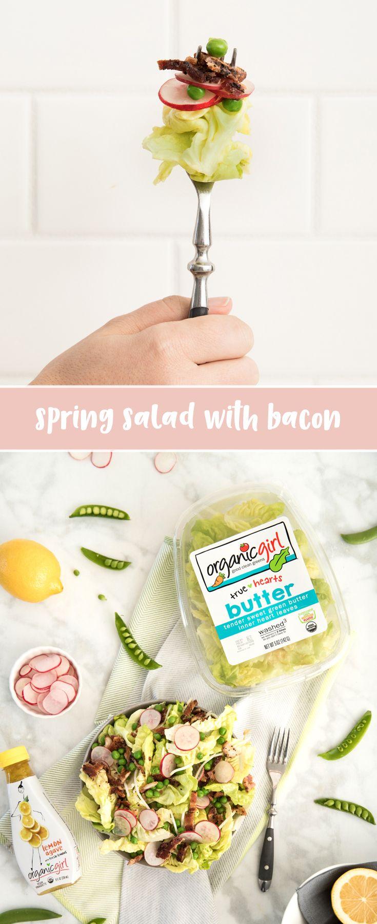 Spring Salad With Bacon Iloveorganicgirl Recipe Spring Salad Healthy Lunch Salad Bacon [ 1800 x 735 Pixel ]