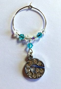 Letter 'G' Wine Glass Charm - with Swarovski Crystals - birthstone gift idea by Makewithlovecrafts on Etsy