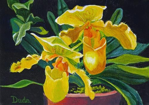"""Daily Paintworks - """"Yellow Slippers"""" by Susan Duda"""