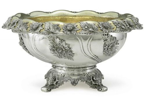 Late Victorian parcel-gilt silver punch bowl by Tiffany.