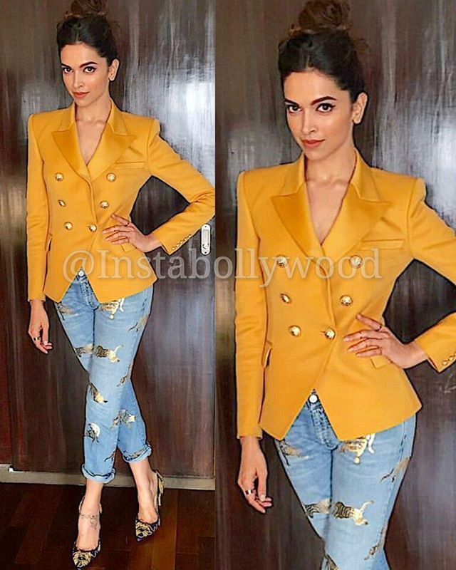 Deepika Padukone in Balmain Paris for MAMI festival today. . Outfit  ~ Balmain Paris Jeans  ~ Stella McCartney Heels  ~ Louboutin