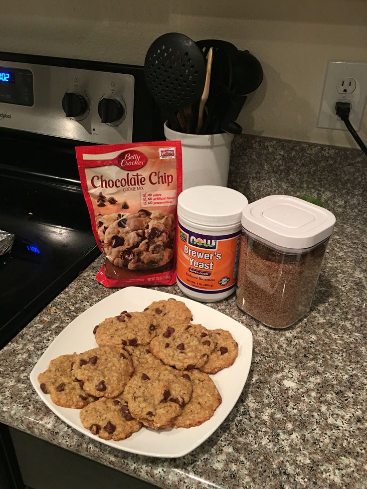 Easy lactation cookies!! I actually used the oatmeal chocolate chip mix. I added 1 tbsp of flaxseed, 1 tbsp of Brewer's yeast, and a splash of vanilla (just in case the yeast flavor overpowered the cookie). If you are using the chocolate chip mix, I would add 1/2 cup of oatmeal and another tbsp of water (just a guess). Tip for new mommies: you can find Brewer's yeast at GNC or a nutrition store